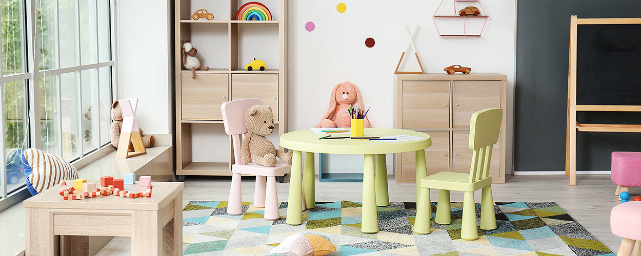Kids' craft table in playroom