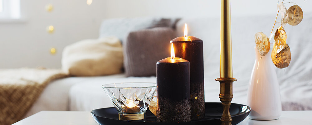 Winter interior design with candles