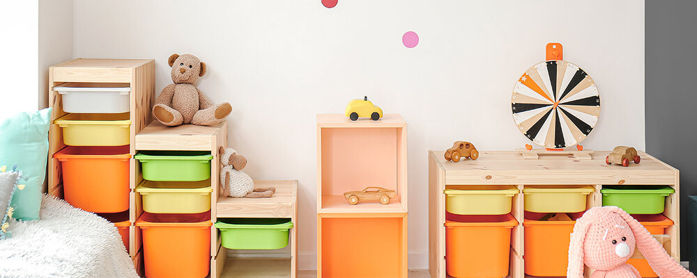 Playroom with toy cubbies