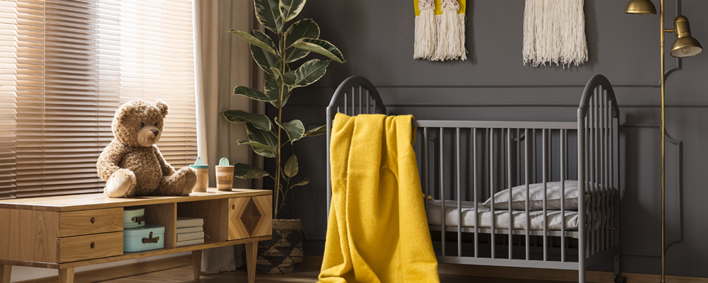 Modern nursery with statement wall