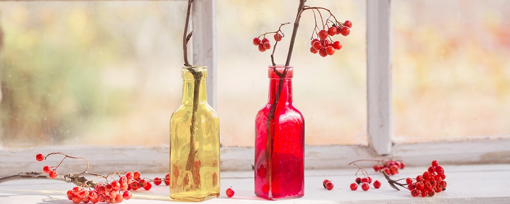 Berry bottles for Thanksgiving decor