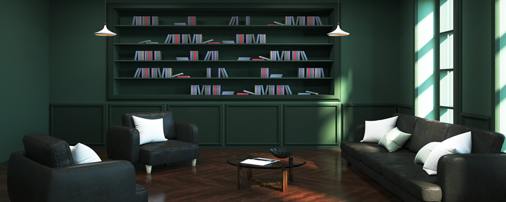 Home Library to Make Big Room Feel Cozy