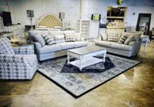 Fusion Furniture sofa, loveseat, and accent chair in retailer showroom