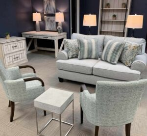 Fusion Furniture loveseat in retailer showroom