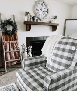 Checkered Fusion Furniture chair in customer living room