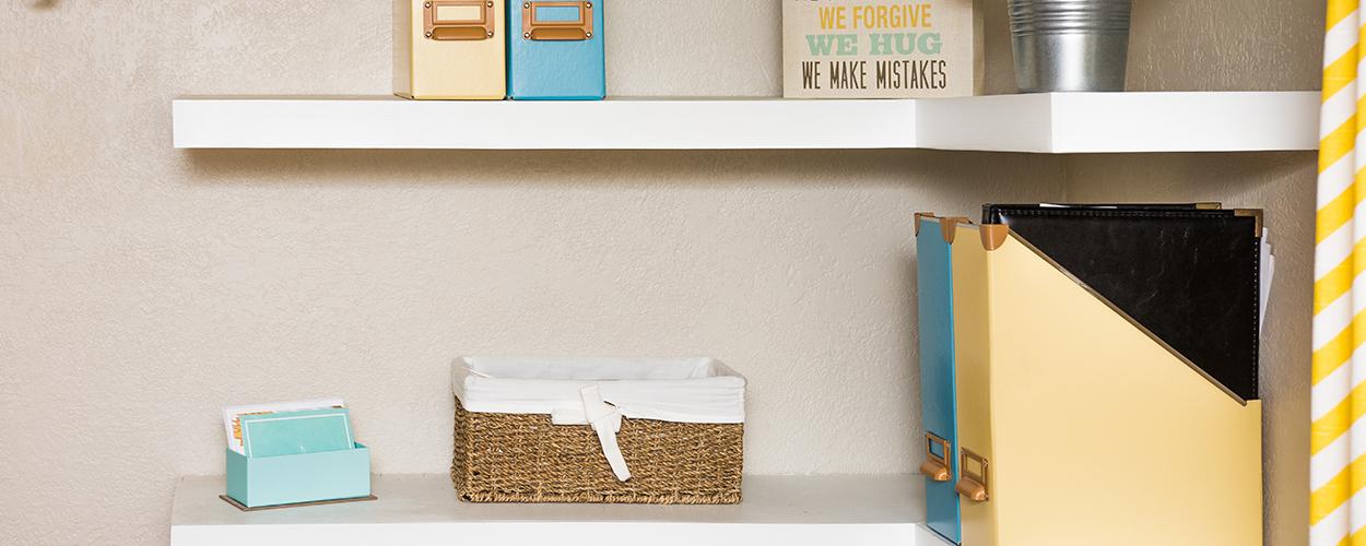 Corner shelves in living room