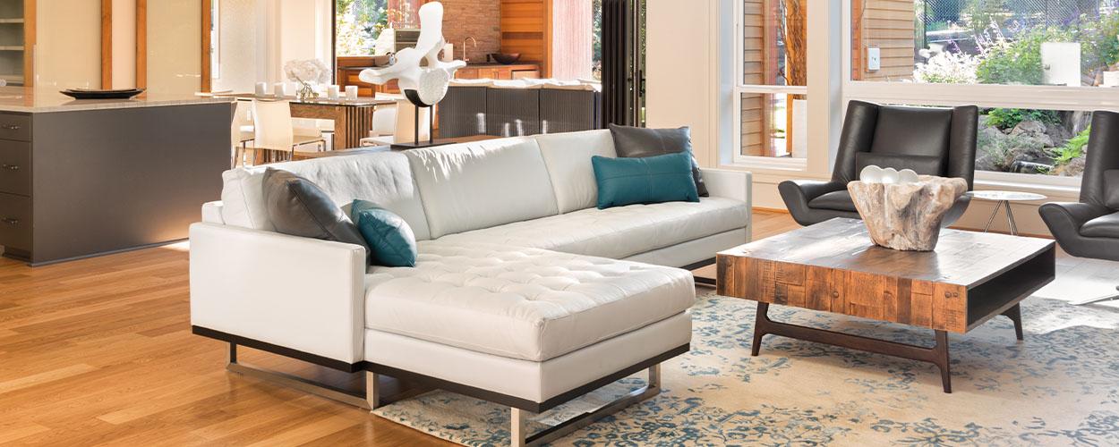 Area rug in open floor plan home