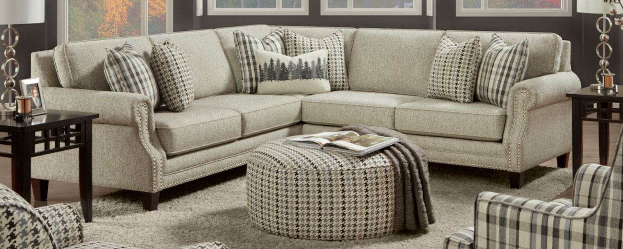 Houndstooth upholstery pattern on Fusion living room set