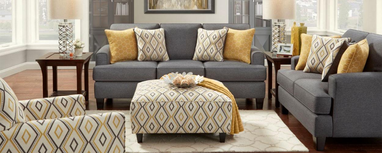 Geometric patterns on Fusion sofa set