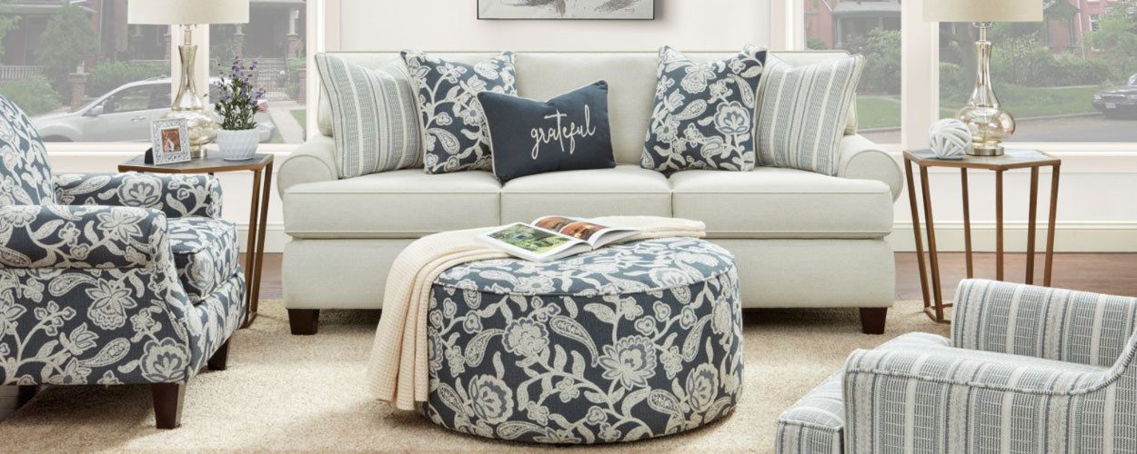 Fusion living room set with floral patterning