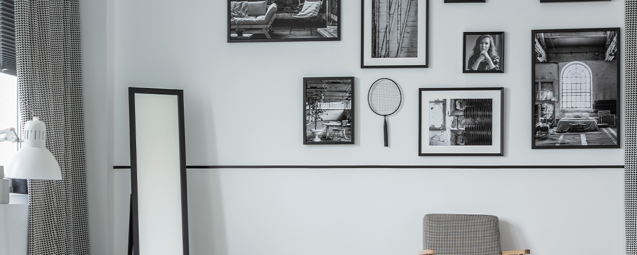 Black and white DIY gallery wall