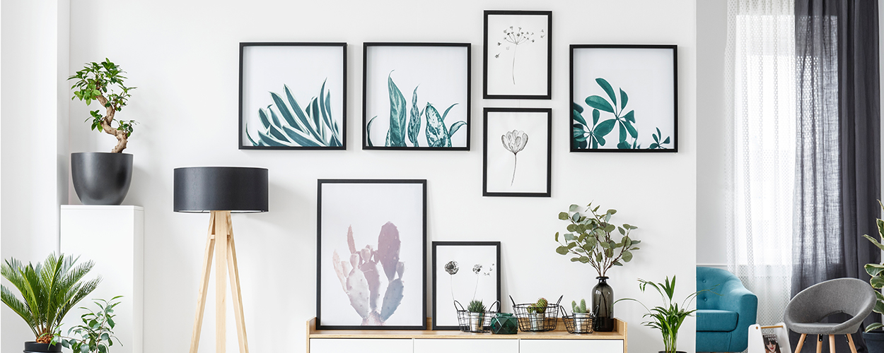 Gallery wall layout idea with plants