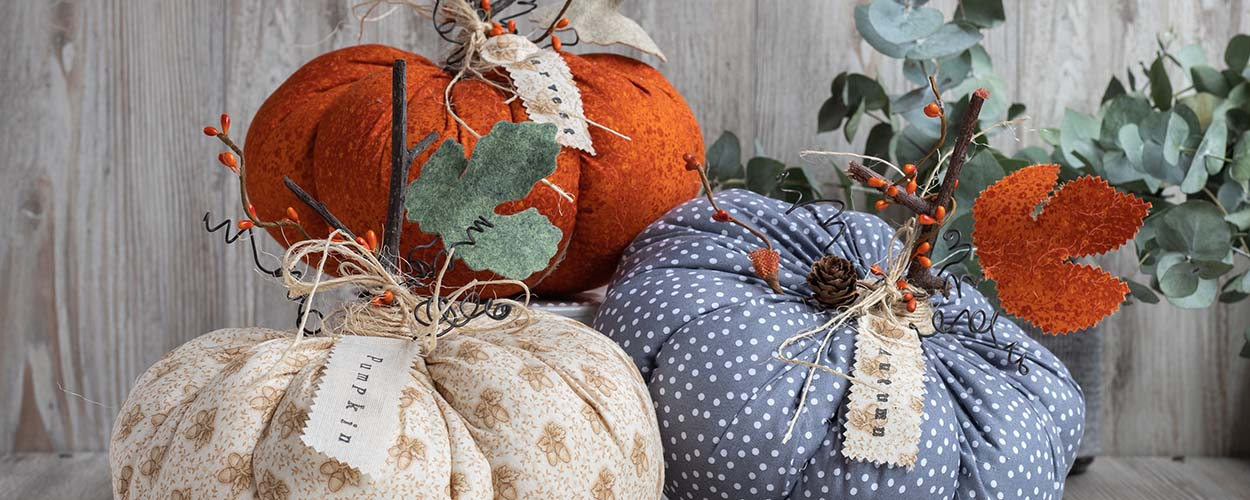 Fabric pumpkins for fall decor craft