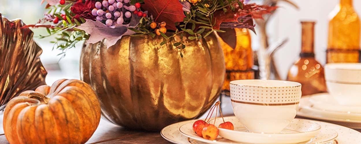 Fall decor craft with pumpkin bouquet