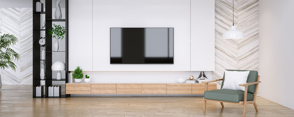 Floating shelf for living room wall