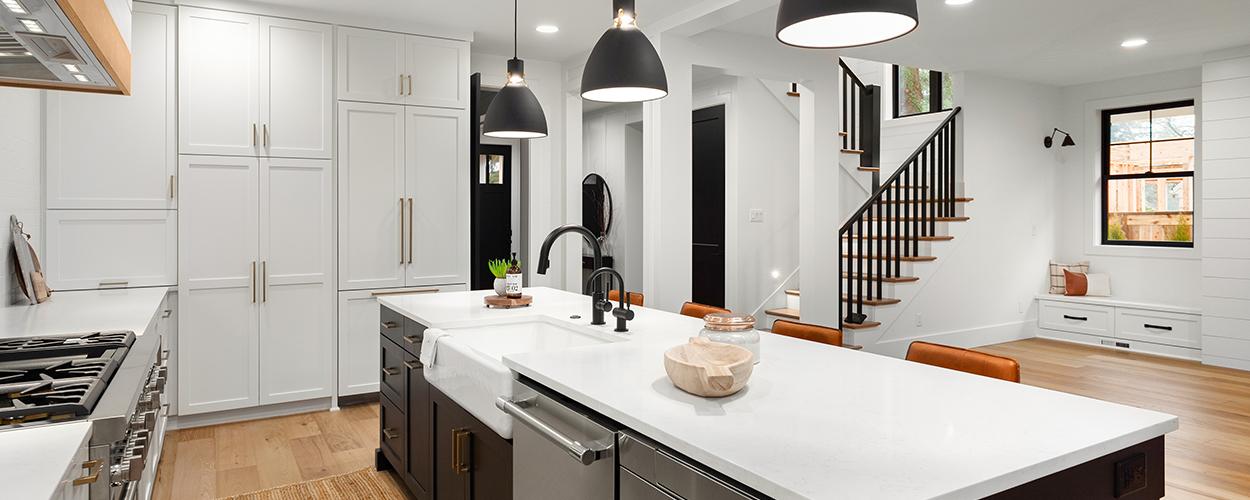 Interior home lighting in kitchen